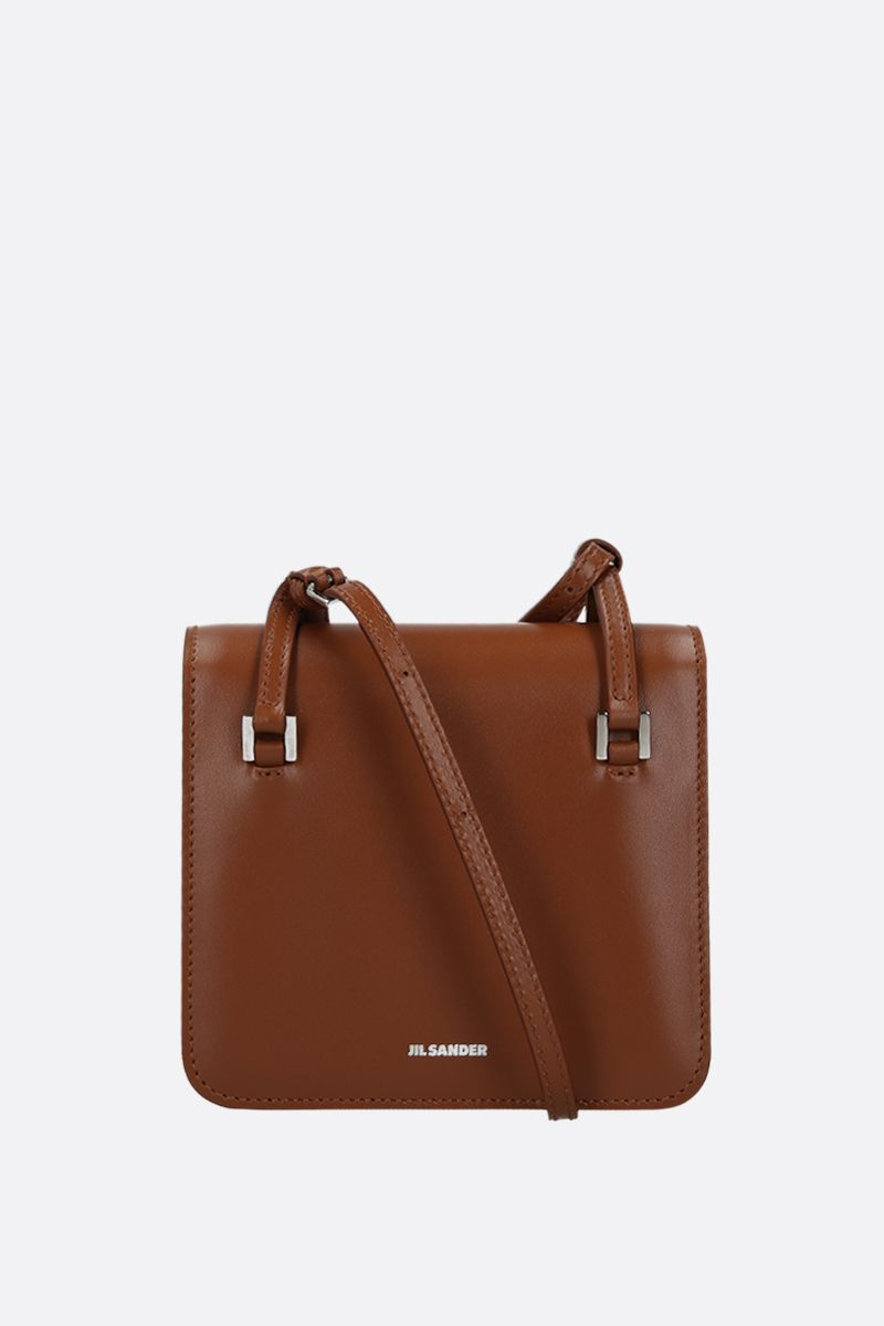 JIL SANDER: Holster extra small crossbody bag in smooth leather Color Brown_1