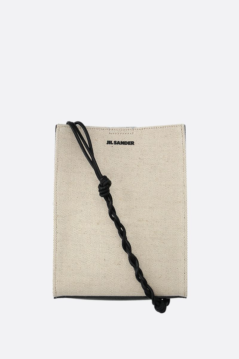 JIL SANDER: borsa a spalla Tangle small in canvas e pelle liscia Colore Nero_1