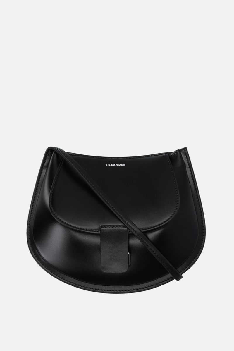 JIL SANDER: Crescent small smooth leather crossbody bag Color Black_1