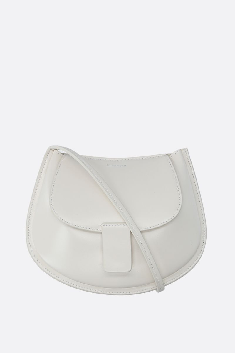 JIL SANDER: Crescent small smooth leather crossbody bag Color White_1