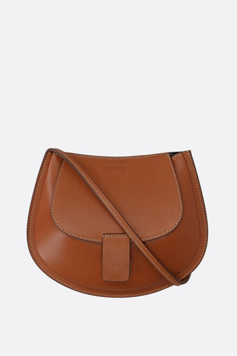 JIL SANDER: Crescent small smooth leather crossbody bag_1