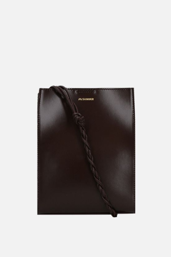 JIL SANDER: Tangle small smooth leather shoulder bag Color Brown_1