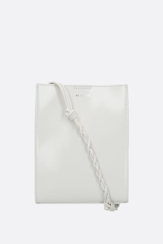 JIL SANDER: Tangle small shiny leather shoulder bag Color White_1