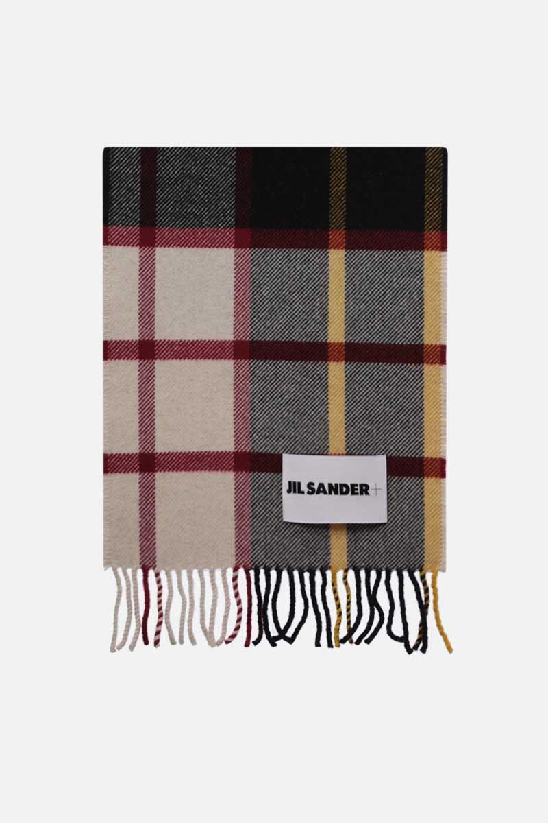 JIL SANDER: check wool blend scarf Color Multicolor_1