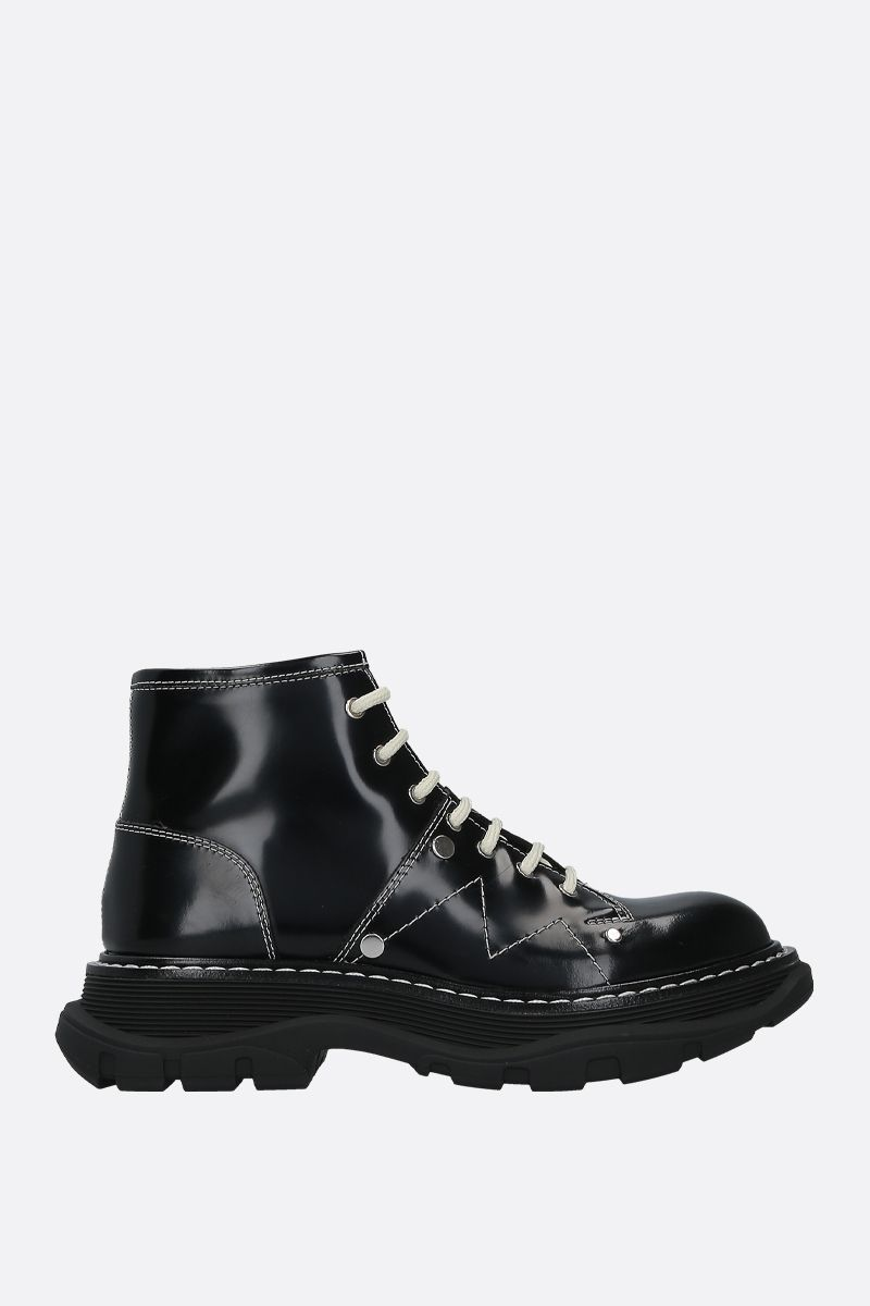 ALEXANDER McQUEEN: shiny leather combat boots Color Black_1