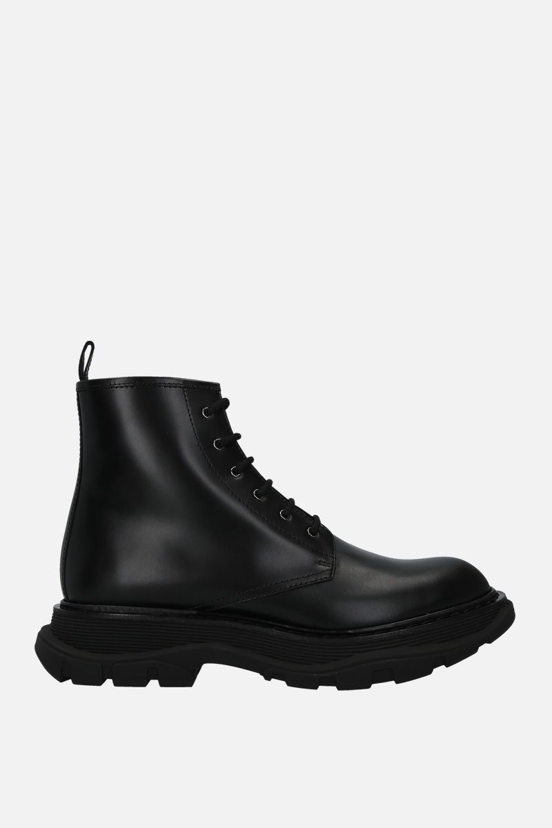 ALEXANDER McQUEEN: brushed calf combat boots Color Black_1