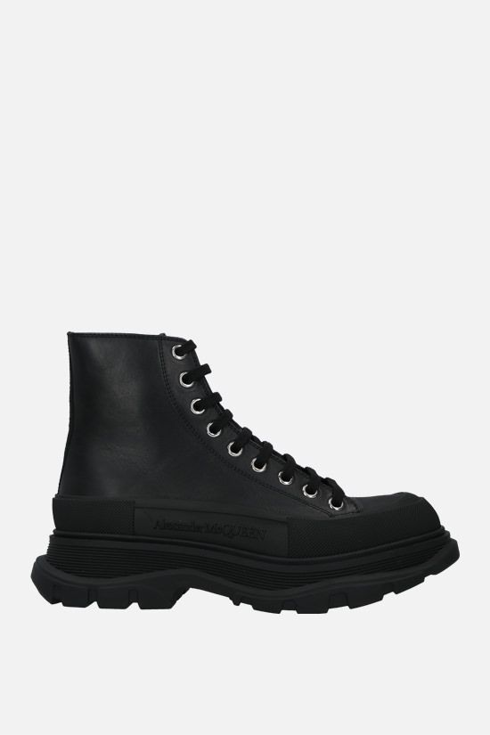 ALEXANDER McQUEEN: Thread smooth leather combat boots Color Black_1