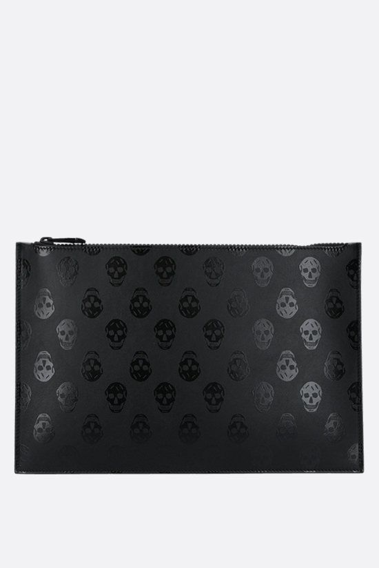 ALEXANDER McQUEEN: Biker Skull print smooth leather clutch Color Black_1