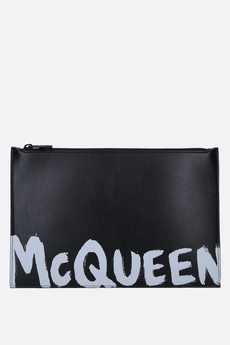 ALEXANDER McQUEEN: logo print smooth leather pouch Color Black_1