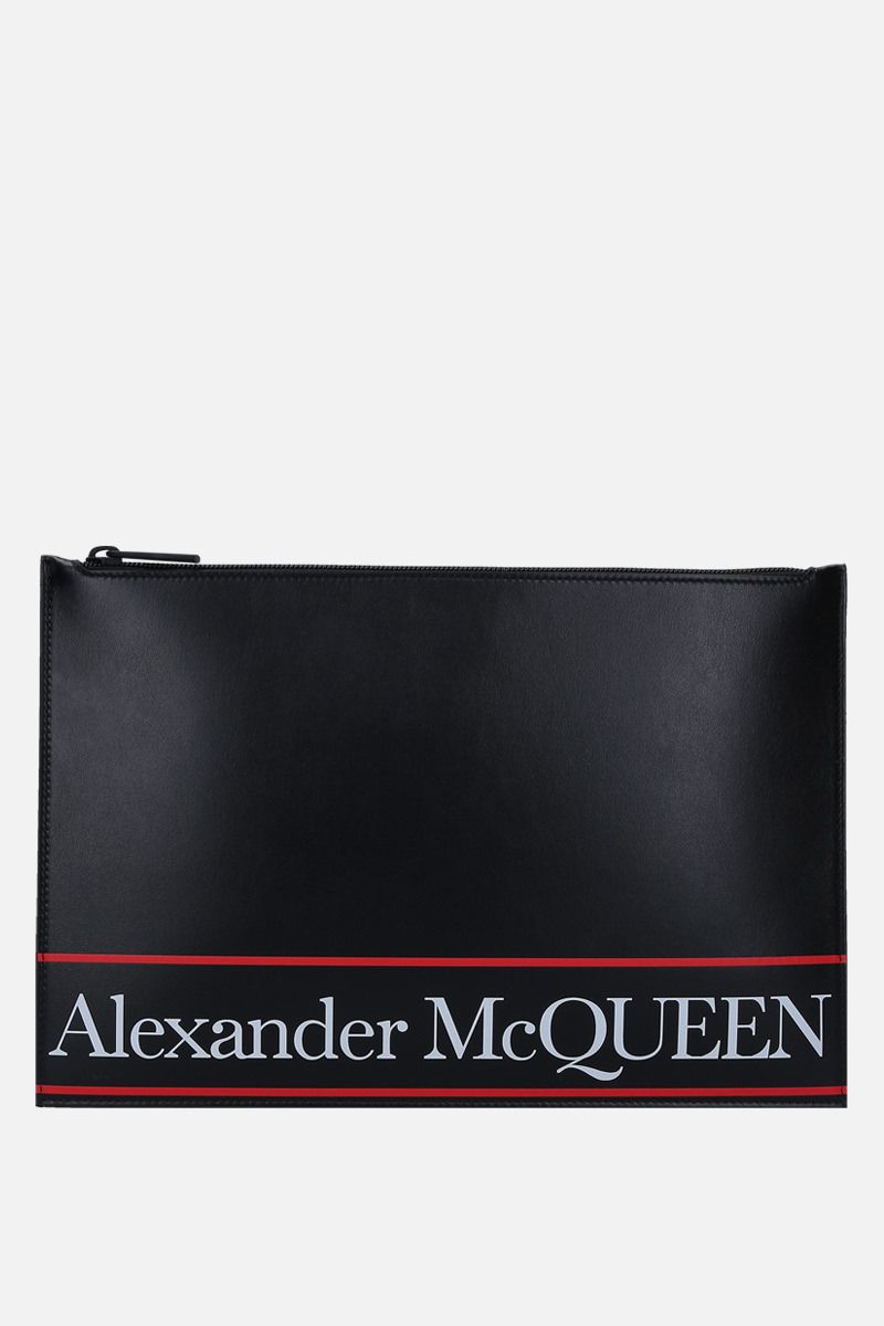 ALEXANDER McQUEEN: logo printed smooth leather pouch Color Black_1