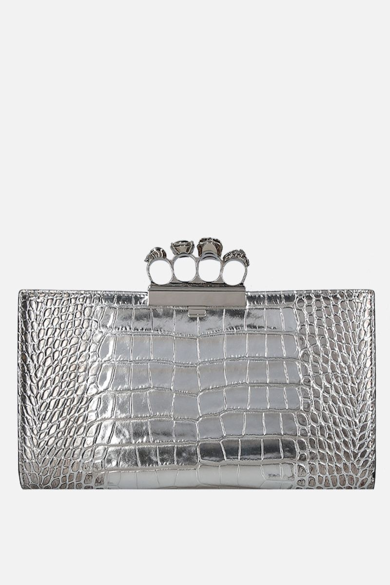 ALEXANDER McQUEEN: Skull four-ring clutch in crocodile embossed leather Color Silver_1