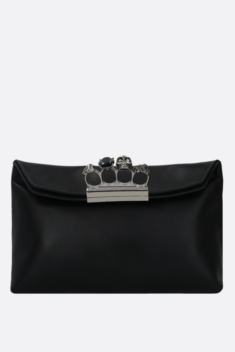 ALEXANDER McQUEEN: Skull smooth leather soft pouch Color Black_1