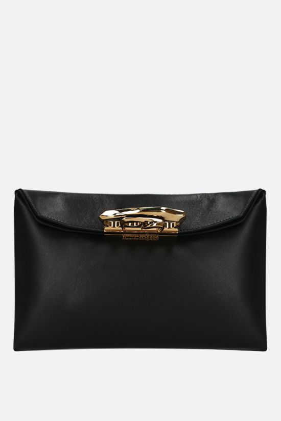 ALEXANDER McQUEEN: Sculptural smooth leather pochette Color Black_1