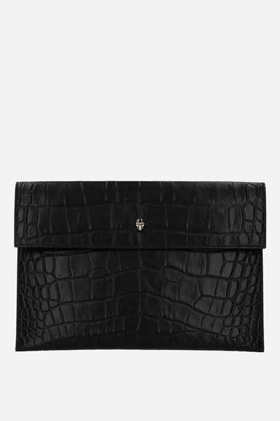 ALEXANDER McQUEEN: Skull crocodile embossed leather clutch Color Black_1