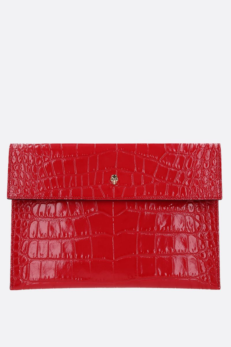 ALEXANDER McQUEEN: Skull crocodile embossed leather clutch Color Red_1