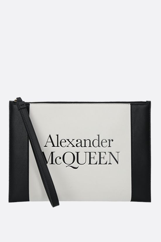 ALEXANDER McQUEEN: Sign smooth leather pouch Color Neutral_1