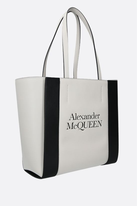 ALEXANDER McQUEEN: Sign small smooth leather tote bag Color Neutral_2