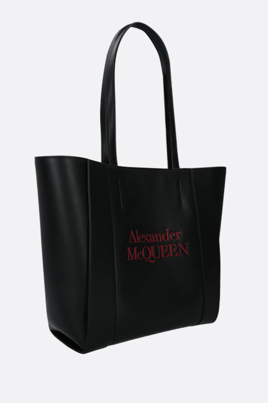 ALEXANDER McQUEEN: Sign small smooth leather tote bag Color Black_2