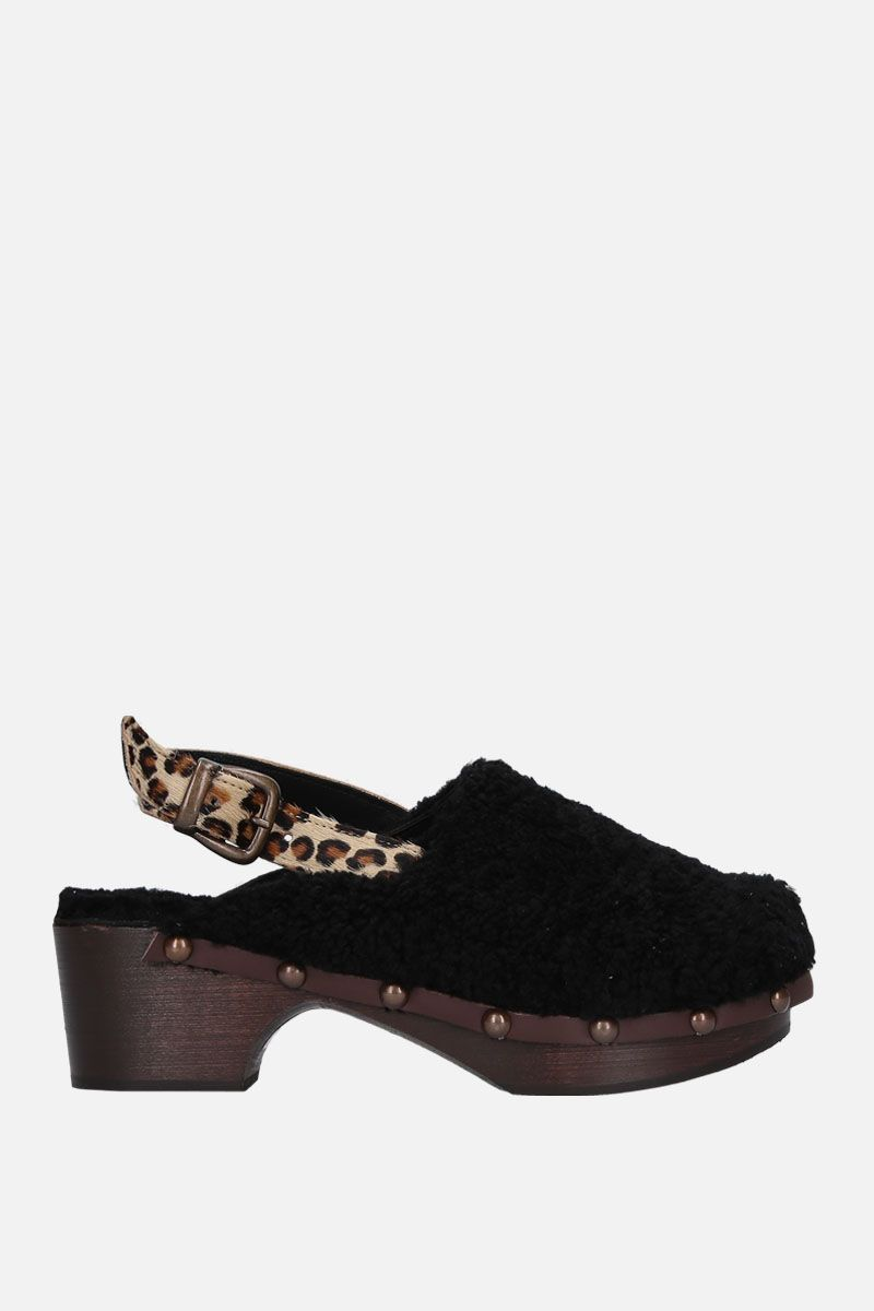 AVEC MODERATION: Ruka clogs in shearling Color Black_1
