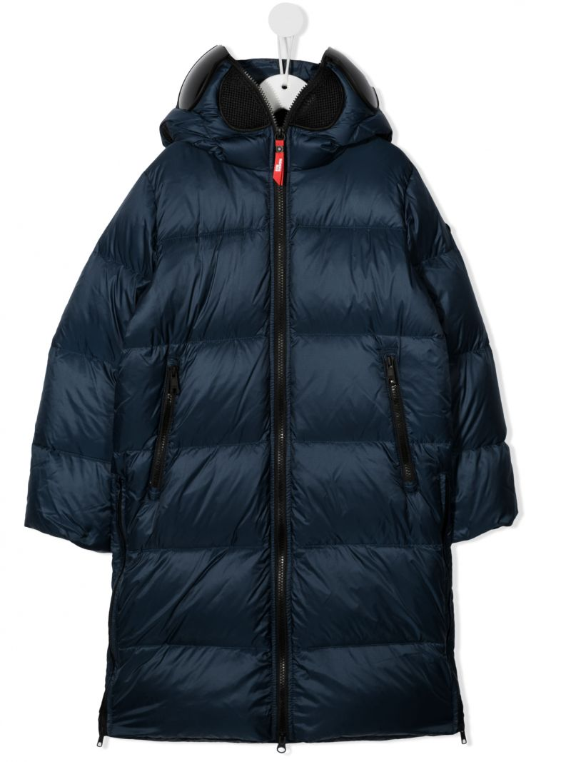 AI RIDERS ON THE STORM KIDS: pom pom-detailed nylon long down jacket Color Blue_1
