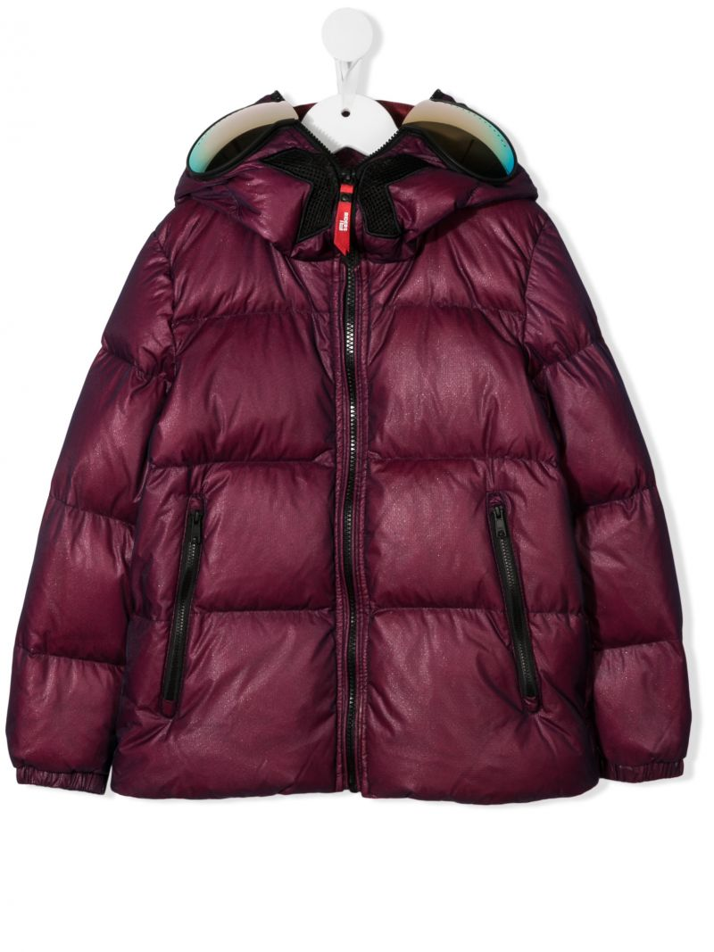 AI RIDERS ON THE STORM KIDS: logo print nylon down jacket Color Red_1