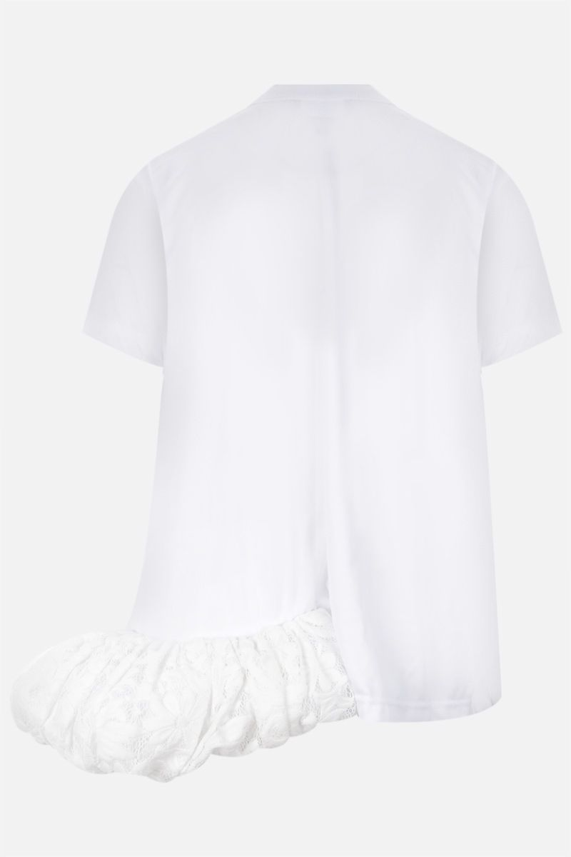 COMME des GARCONS: t-shirt in jersey con balza in pizzo Colore White_2