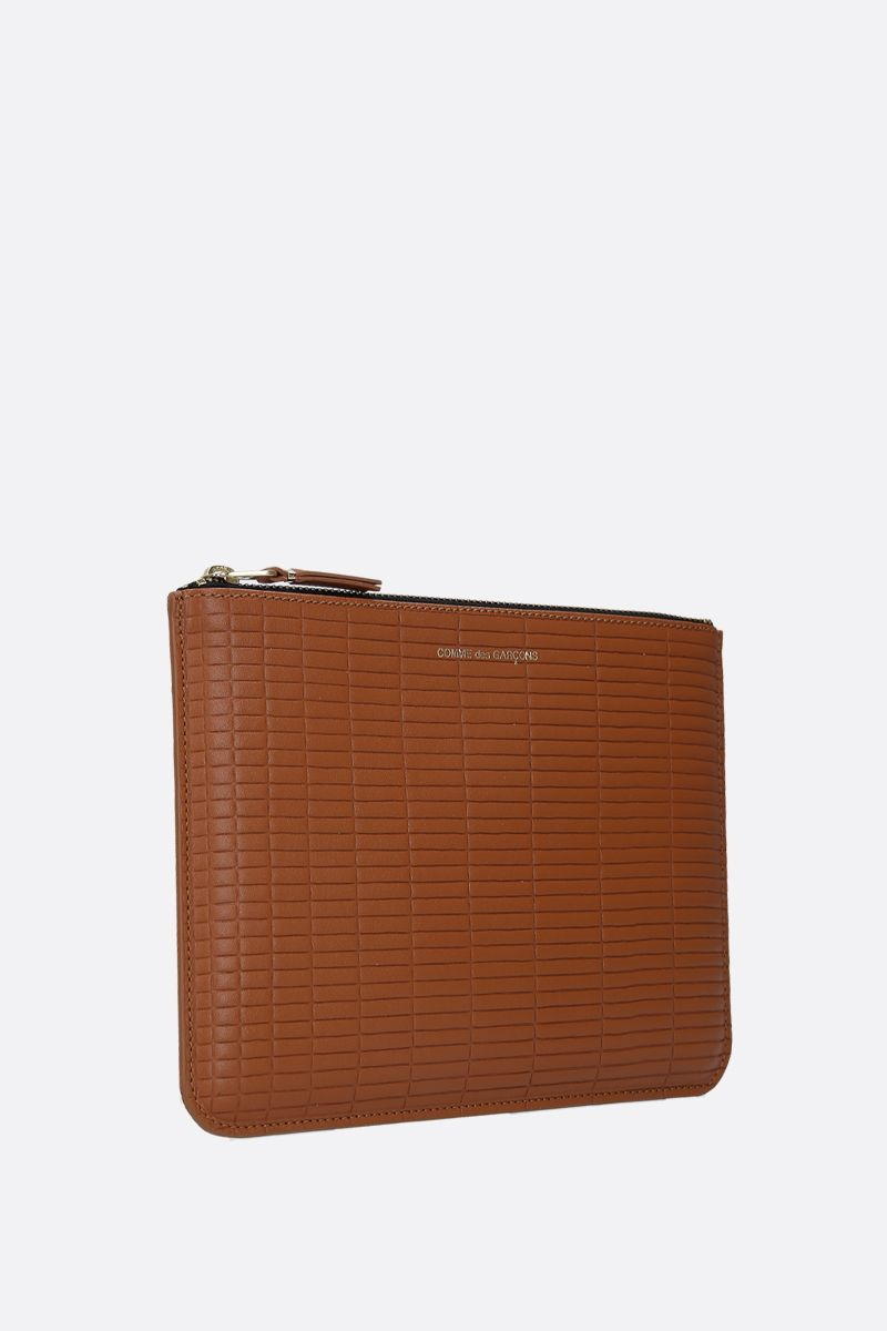 COMME des GARCONS WALLET: textured leather large pouch Color Neutral_2