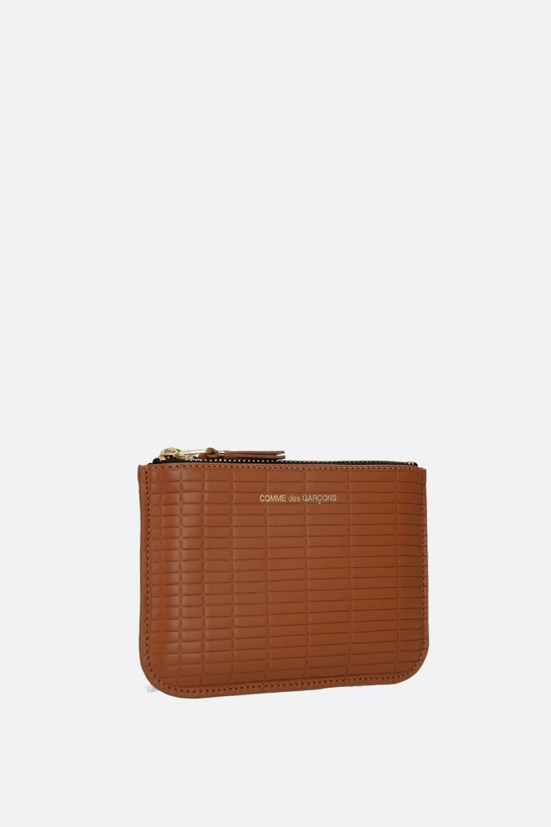 COMME des GARCONS WALLET: textured leather small pouch Color Neutral_2