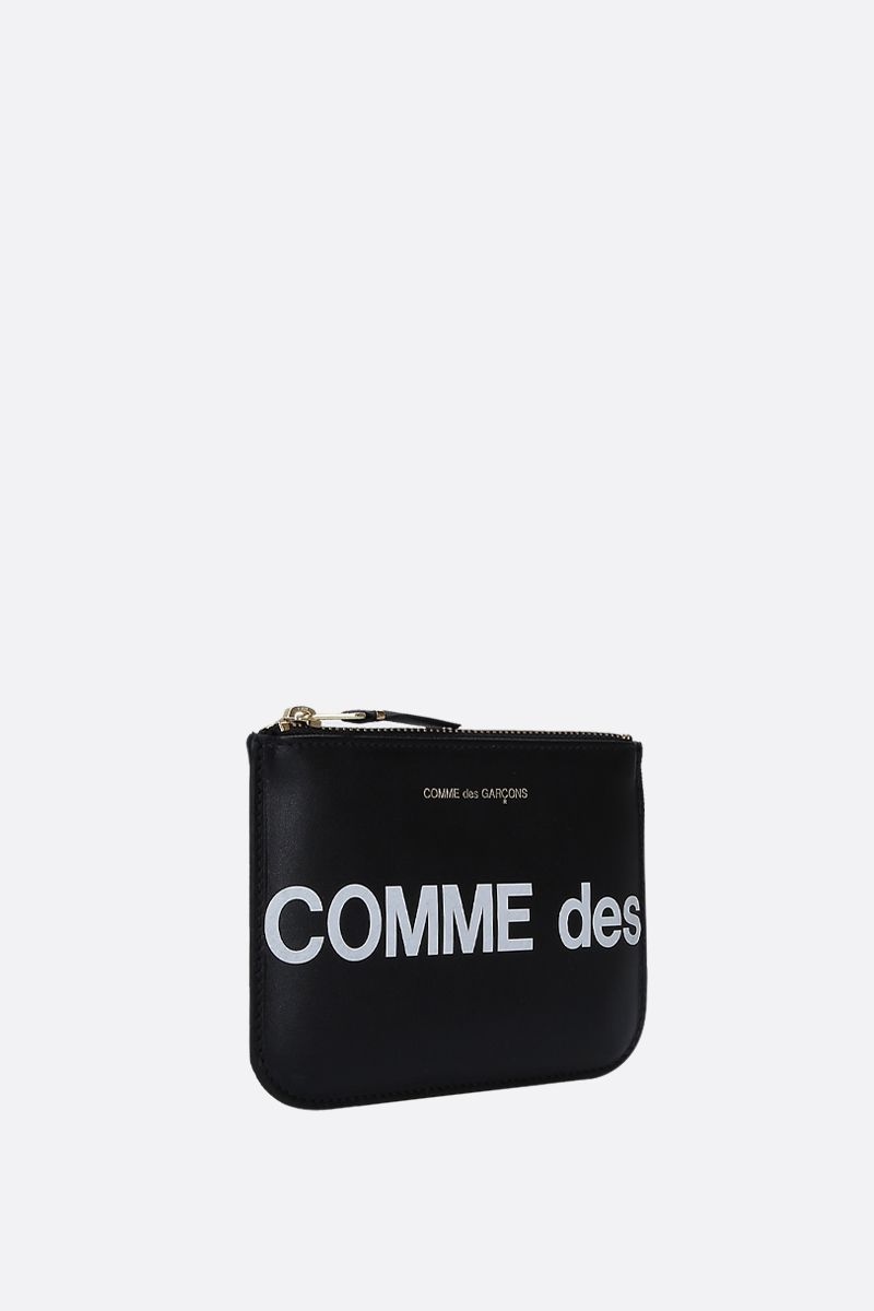 COMME des GARCONS WALLET: busta small in pelle liscia stampa logo Colore Nero_2