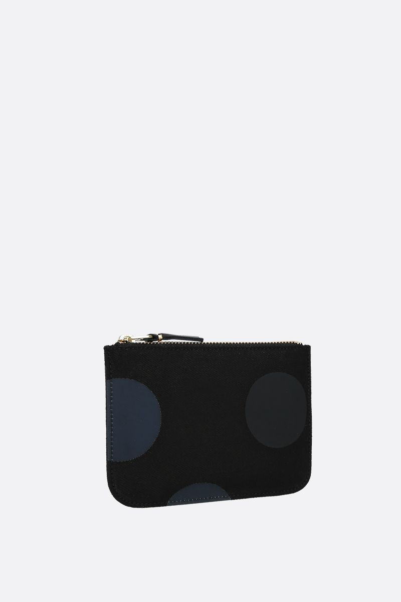 COMME des GARCONS WALLET: busta small in canvas a pois Colore Nero_2
