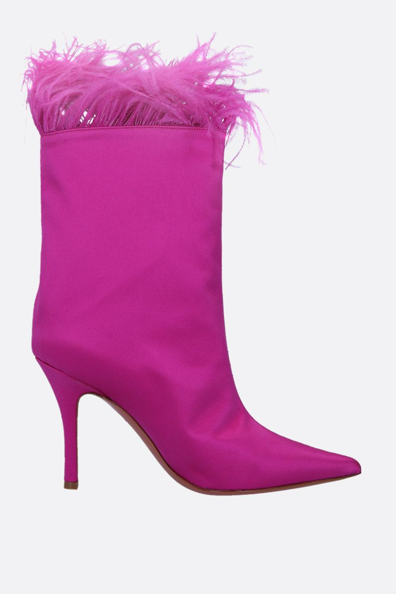 AMINA MUADDI: Nakia ankle boots in satin Color Pink_1