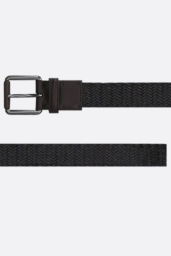 ERMENEGILDO ZEGNA: woven nappa belt Color Brown_2
