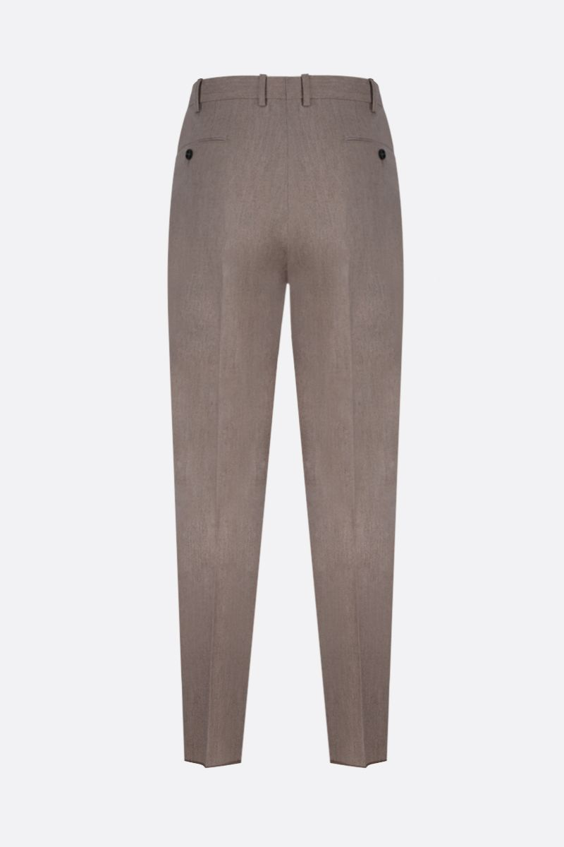 ERMENEGILDO ZEGNA: wool blend pleated pants Color Neutral_2