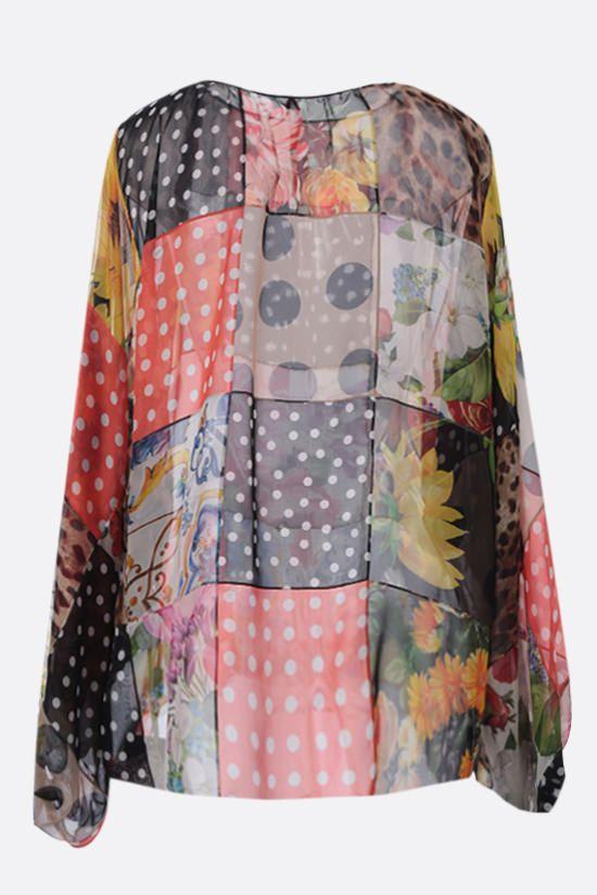 DOLCE & GABBANA: oversize patchwork chiffon blouse Color Multicolor_2