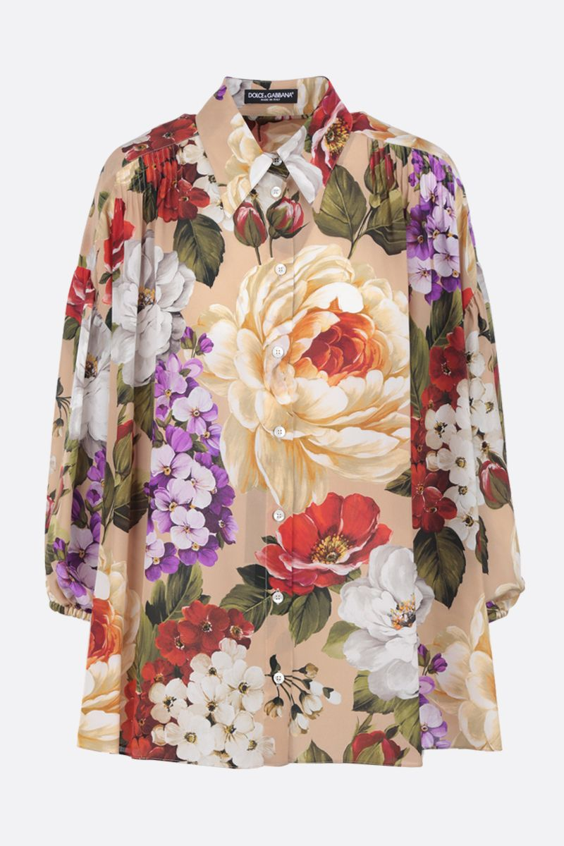 DOLCE & GABBANA: floral print silk oversized shirt Color Multicolor_1