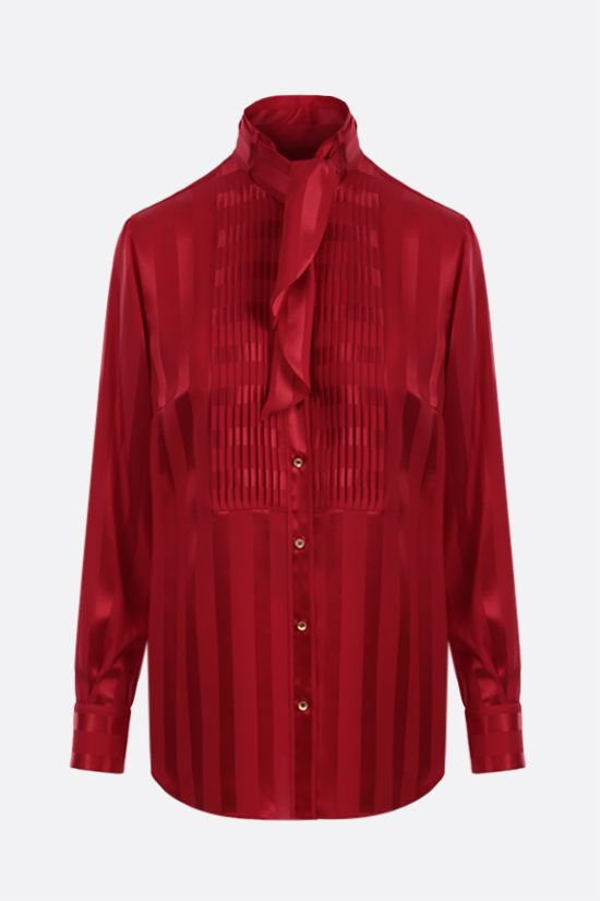 DOLCE & GABBANA: bib-detailed striped silk shirt Color Red_1