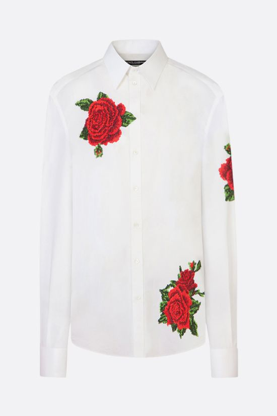 DOLCE & GABBANA: oversize roses embroidered cotton silk shirt Color White_1