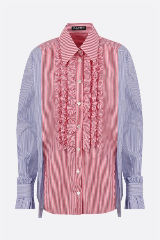 DOLCE & GABBANA: bib-detailed striped cotton shirt Color Multicolor_1