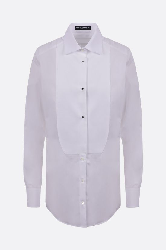 DOLCE & GABBANA: piquet panel cotton shirt Color White_1