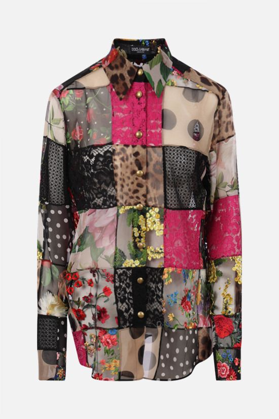 DOLCE & GABBANA: oversize shirt in a patchwork of fabrics Color Multicolor_1