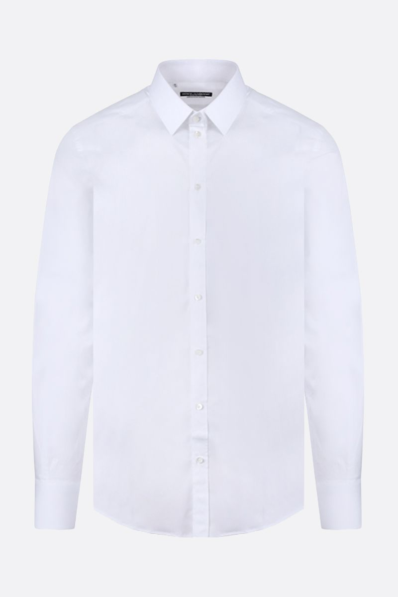 DOLCE & GABBANA: Gold-fit stretch poplin shirt Color White_1