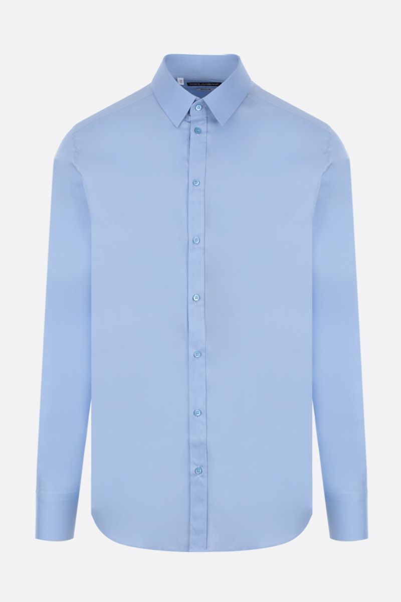 DOLCE & GABBANA: stretch poplin gold-fit shirt Color Blue_1