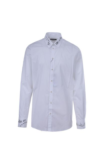 DOLCE & GABBANA: Gold-fit cotton shirt Color White_1