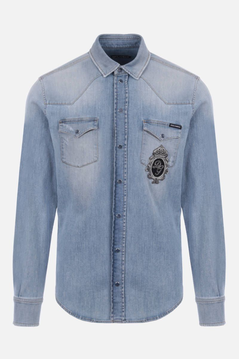 DOLCE & GABBANA: DG Crown patch stretch denim shirt Color Blue_1