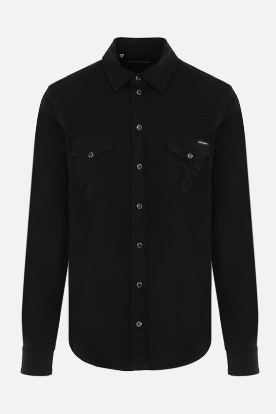 DOLCE & GABBANA: logo-detailed stretch denim shirt Color Multicolor_1