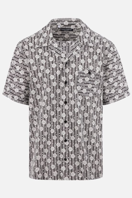 DOLCE & GABBANA: graphic print cotton bowling shirt Color Black_1