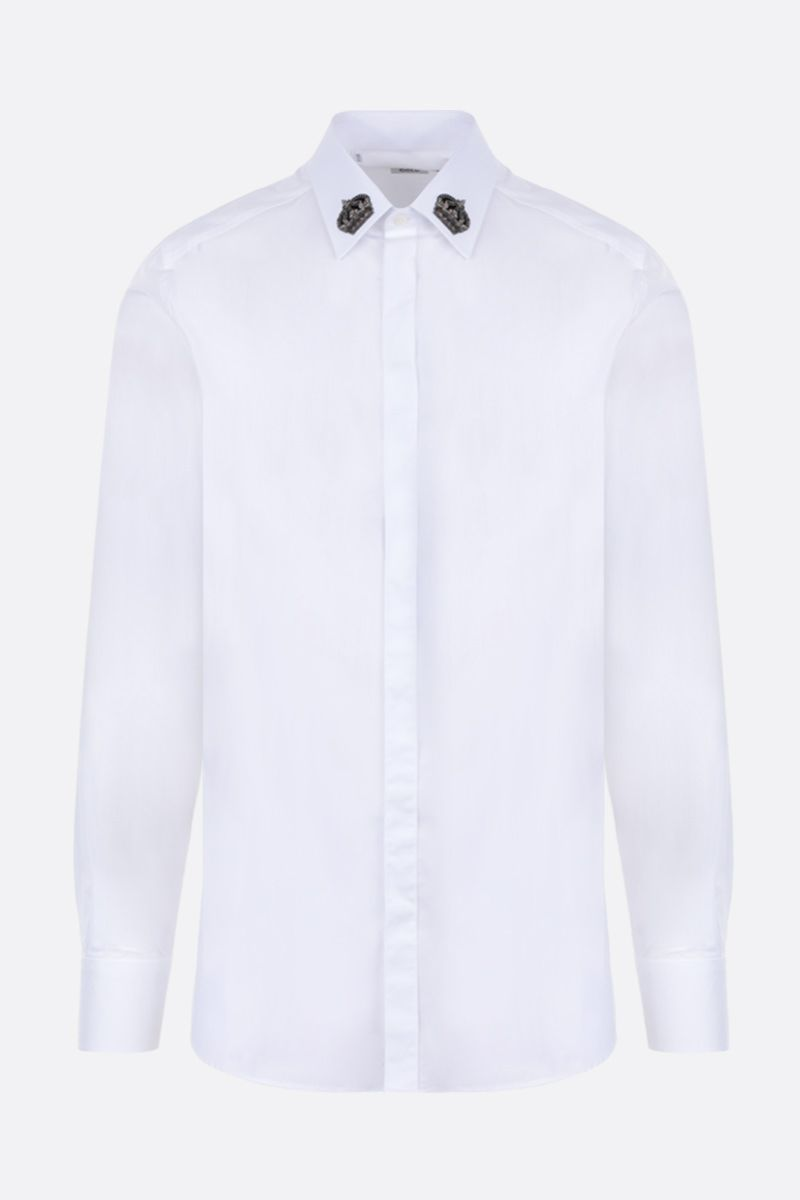 DOLCE & GABBANA: Crown patch-detailed poplin shirt Color White_1