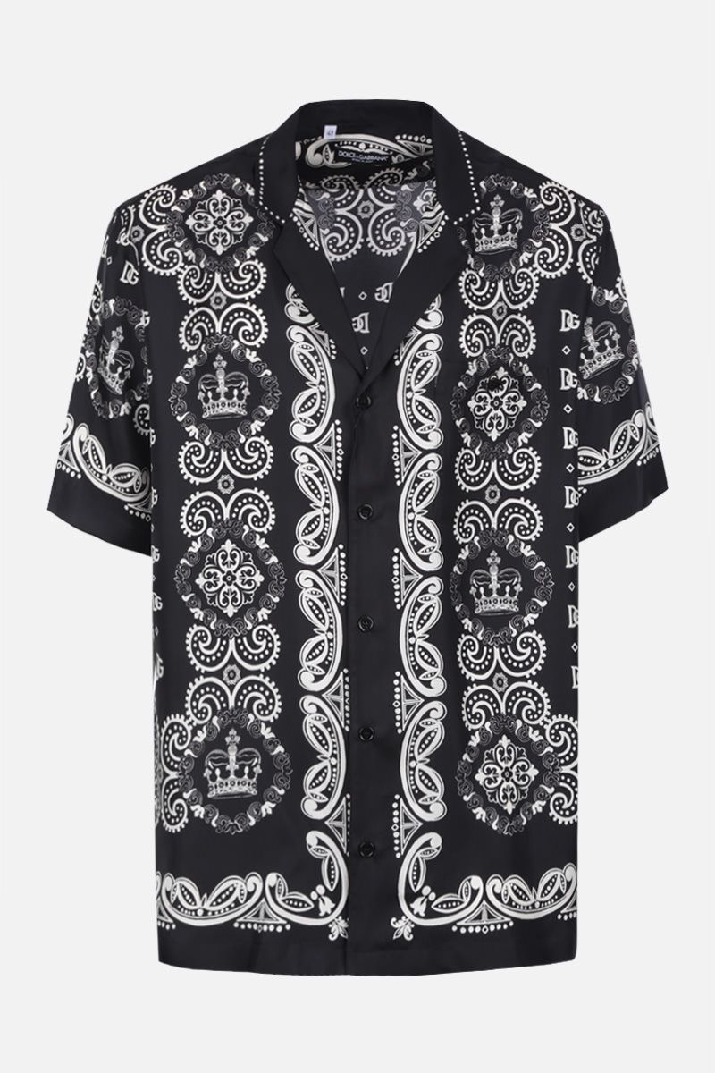 DOLCE & GABBANA: Bandana & Crown print silk bowling shirt Color Black_1
