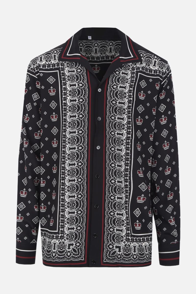 DOLCE & GABBANA: Bandana & Crown print silk shirt Color Multicolor_1