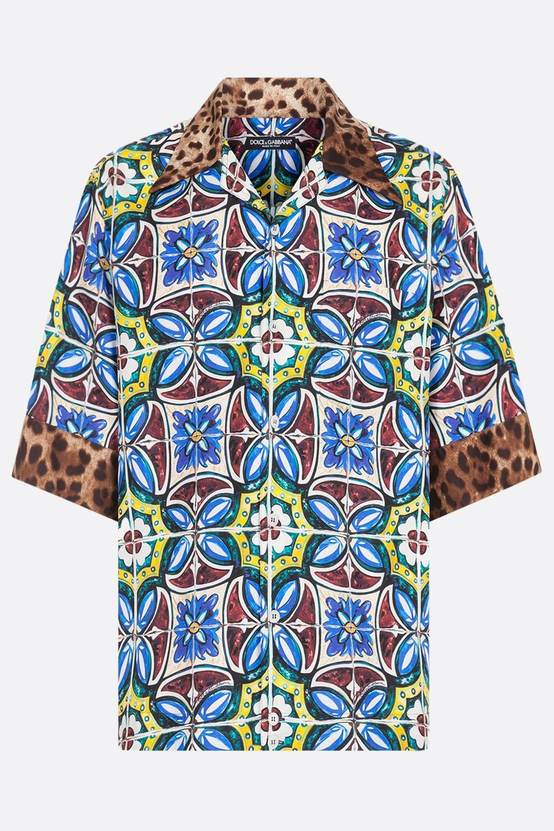DOLCE & GABBANA: Maiolica and leopard printed silk bowling shirt Color Multicolor_1